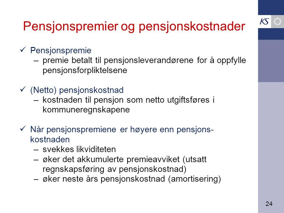 24 Pensjonspremier og pensjonskostnader Pensjonspremie –premie betalt til pensjonsleverandørene for å oppfylle pensjonsforpliktelsene (Netto) pensjonskostnad –kostnaden til pensjon som netto utgiftsføres i kommuneregnskapene Når pensjonspremiene er høyere enn pensjons- kostnaden –svekkes likviditeten –øker det akkumulerte premieavviket (utsatt regnskapsføring av pensjonskostnad) –øker neste års pensjonskostnad (amortisering)