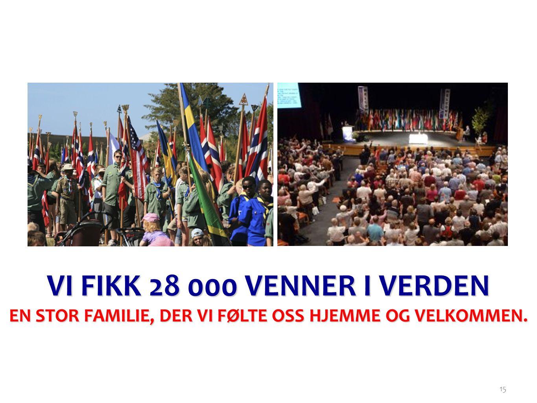 15 VI FIKK 28 000 VENNER I VERDEN EN STOR FAMILIE, DER VI FØLTE OSS HJEMME OG VELKOMMEN.