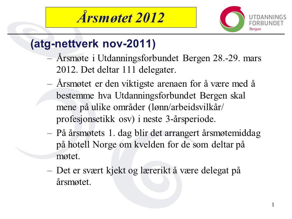 (atg-nettverk nov-2011) –Årsmøte i Utdanningsforbundet Bergen 28.-29.