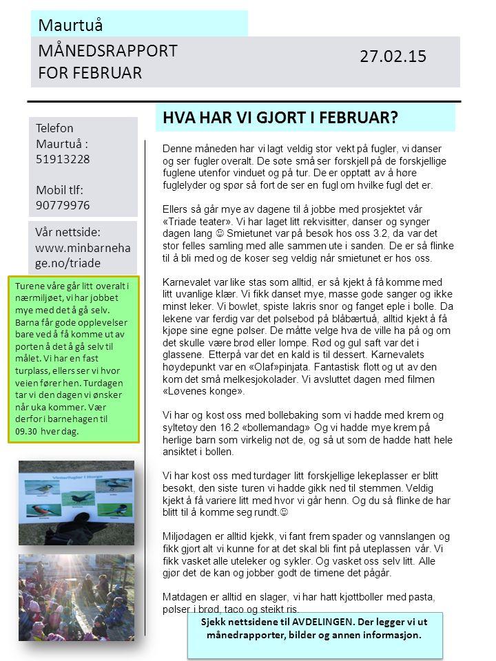 Maurtuå MÅNEDSRAPPORT FOR FEBRUAR HVA HAR VI GJORT I FEBRUAR.