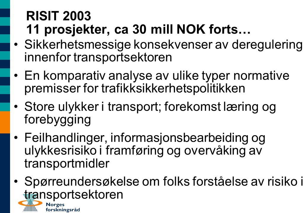RISIT 2003 11 prosjekter, ca 30 mill NOK forts… Sikkerhetsmessige konsekvenser av deregulering innenfor transportsektoren En komparativ analyse av uli