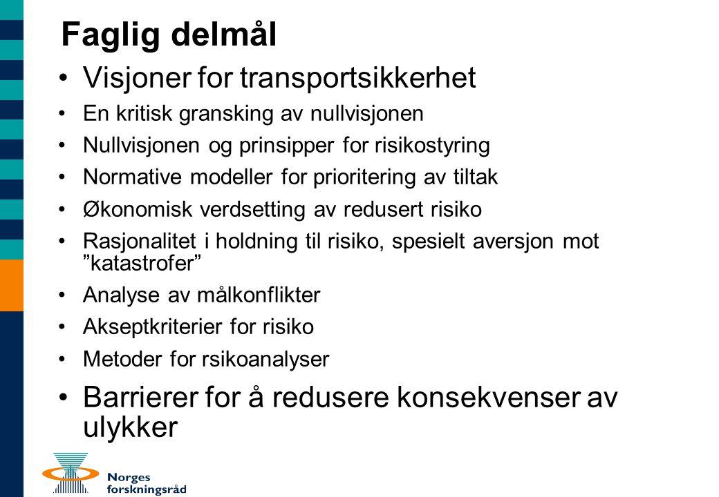 Faglig delmål Visjoner for transportsikkerhet En kritisk gransking av nullvisjonen Nullvisjonen og prinsipper for risikostyring Normative modeller for
