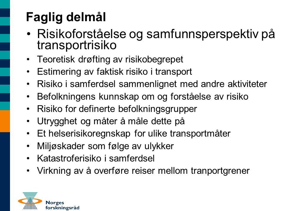 Faglig delmål Risikoforståelse og samfunnsperspektiv på transportrisiko Teoretisk drøfting av risikobegrepet Estimering av faktisk risiko i transport
