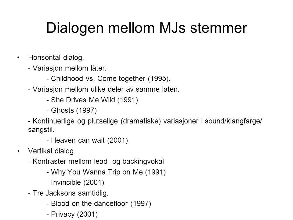 Dialogen mellom MJs stemmer Horisontal dialog.- Variasjon mellom låter.