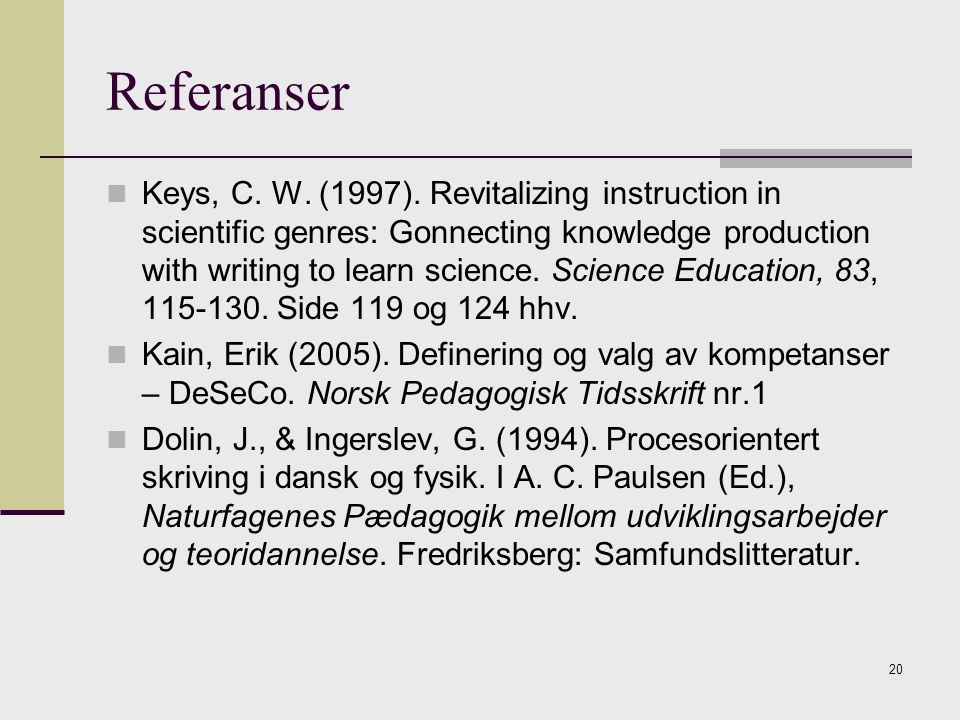 20 Referanser Keys, C. W. (1997). Revitalizing instruction in scientific genres: Gonnecting knowledge production with writing to learn science. Scienc