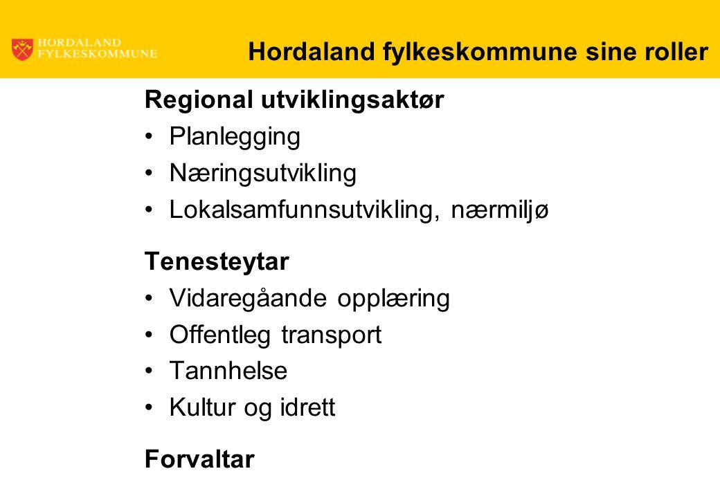 Hordaland fylkeskommune sine roller Regional utviklingsaktør Planlegging Næringsutvikling Lokalsamfunnsutvikling, nærmiljø Tenesteytar Vidaregåande op