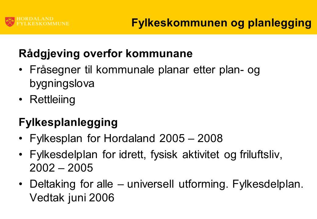 Fylkeskommunen og planlegging Rådgjeving overfor kommunane Fråsegner til kommunale planar etter plan- og bygningslova Rettleiing Fylkesplanlegging Fyl
