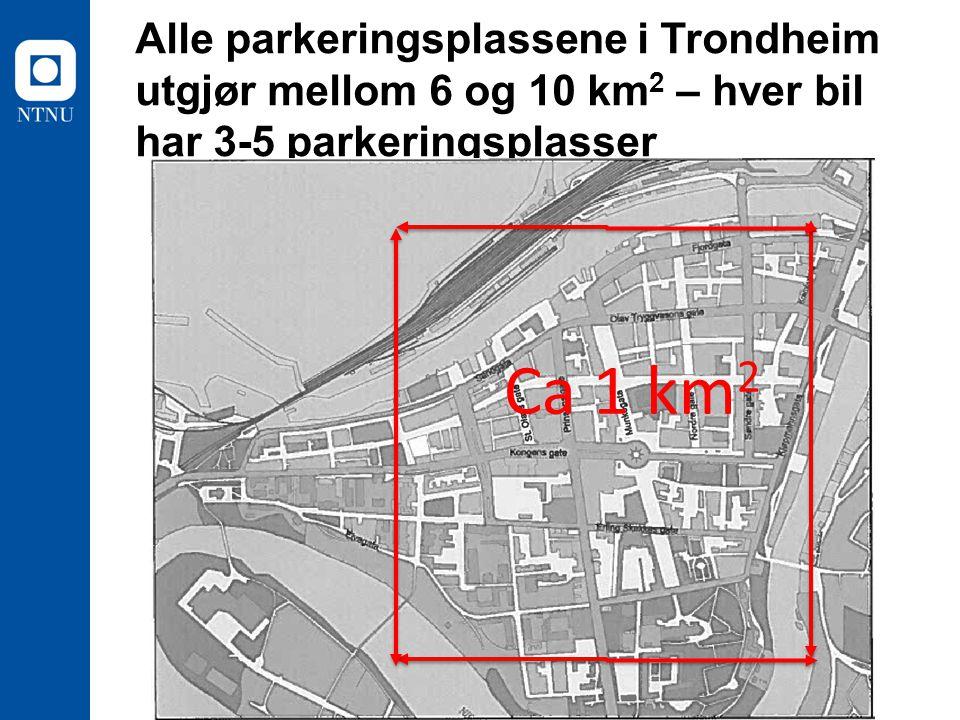 Alle parkeringsplassene i Trondheim utgjør mellom 6 og 10 km 2 – hver bil har 3-5 parkeringsplasser Ca 1 km 2