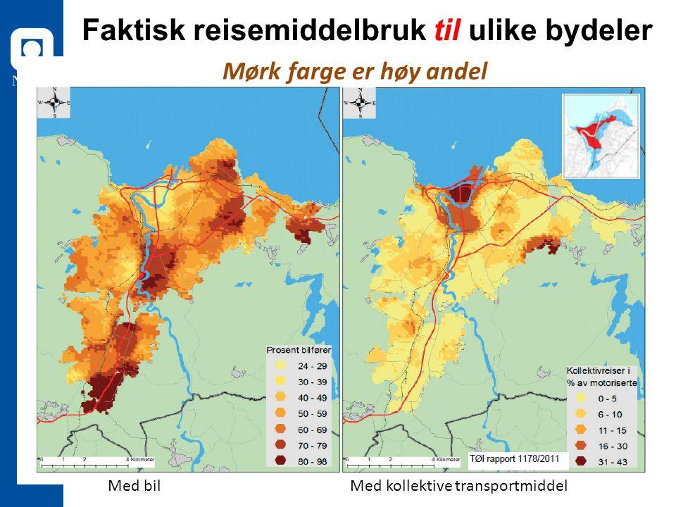 Faktisk reisemiddelbruk til ulike bydeler Med bilMed kollektive transportmiddel Mørk farge er høy andel