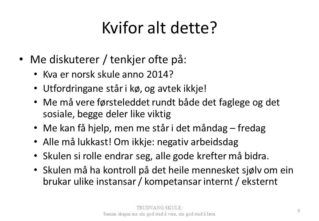 Kvifor alt dette? Me diskuterer / tenkjer ofte på: Kva er norsk skule anno 2014? Utfordringane står i kø, og avtek ikkje! Me må vere førsteleddet rund