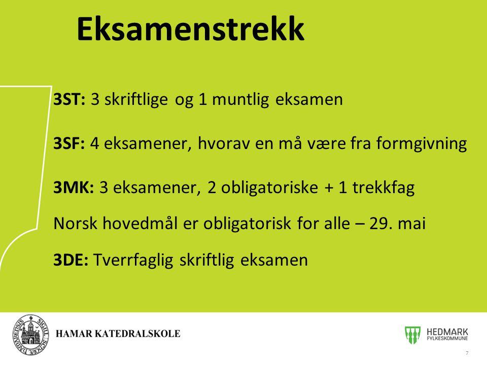 7 Eksamenstrekk 3ST: 3 skriftlige og 1 muntlig eksamen 3SF: 4 eksamener, hvorav en må være fra formgivning 3MK: 3 eksamener, 2 obligatoriske + 1 trekkfag Norsk hovedmål er obligatorisk for alle – 29.
