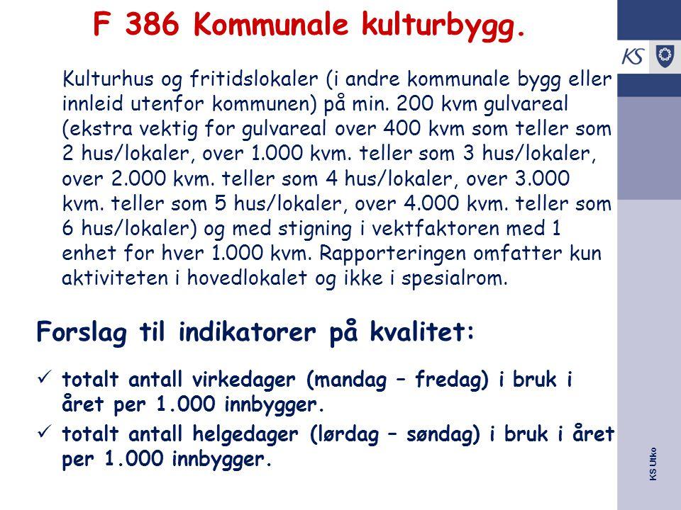 KS Utko F 386 Kommunale kulturbygg. Kulturhus og fritidslokaler (i andre kommunale bygg eller innleid utenfor kommunen) på min. 200 kvm gulvareal (eks
