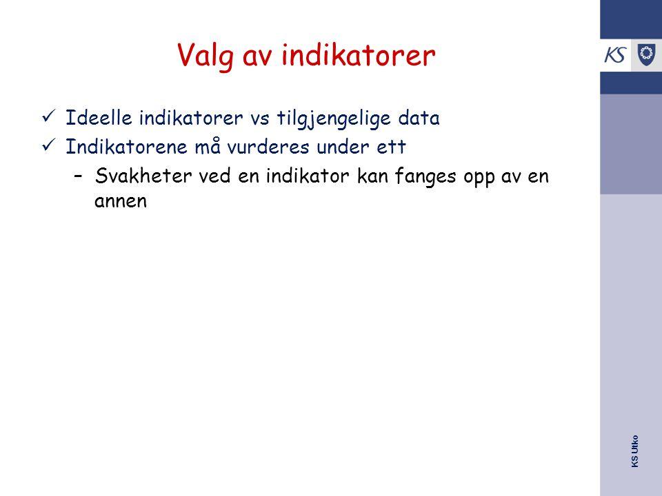 KS Utko Valg av indikatorer Ideelle indikatorer vs tilgjengelige data Indikatorene må vurderes under ett –Svakheter ved en indikator kan fanges opp av