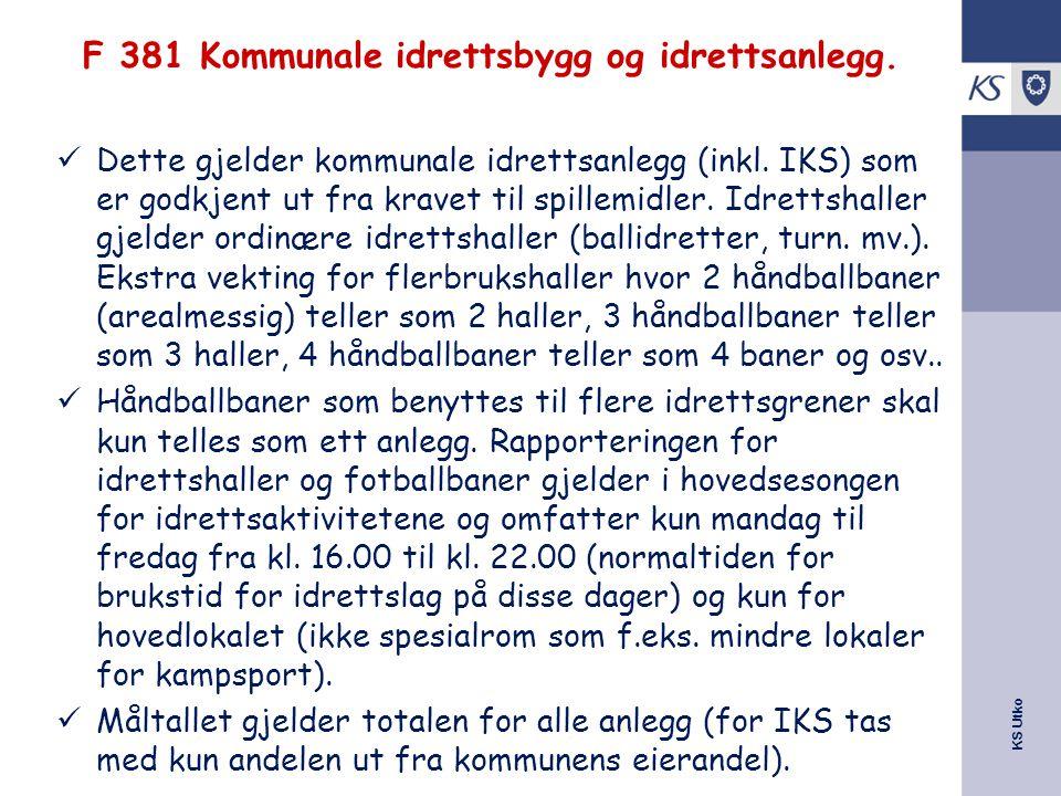 KS Utko F 381 Kommunale idrettsbygg og idrettsanlegg. Dette gjelder kommunale idrettsanlegg (inkl. IKS) som er godkjent ut fra kravet til spillemidler