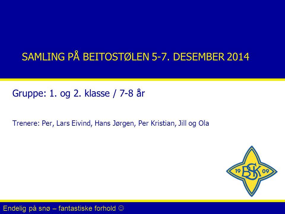 SAMLING PÅ BEITOSTØLEN 5-7.DESEMBER 2014 Gruppe: 1.