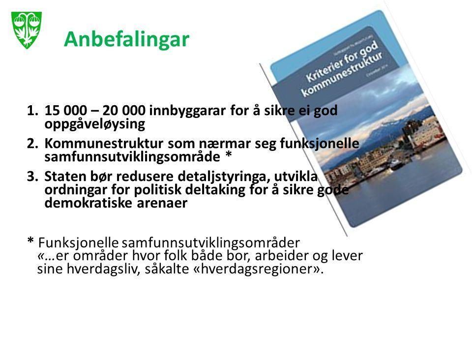 Anbefalingar 1.15 000 – 20 000 innbyggarar for å sikre ei god oppgåveløysing 2.Kommunestruktur som nærmar seg funksjonelle samfunnsutviklingsområde *
