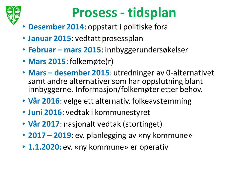 Prosess - tidsplan Desember 2014: oppstart i politiske fora Januar 2015: vedtatt prosessplan Februar – mars 2015: innbyggerundersøkelser Mars 2015: fo