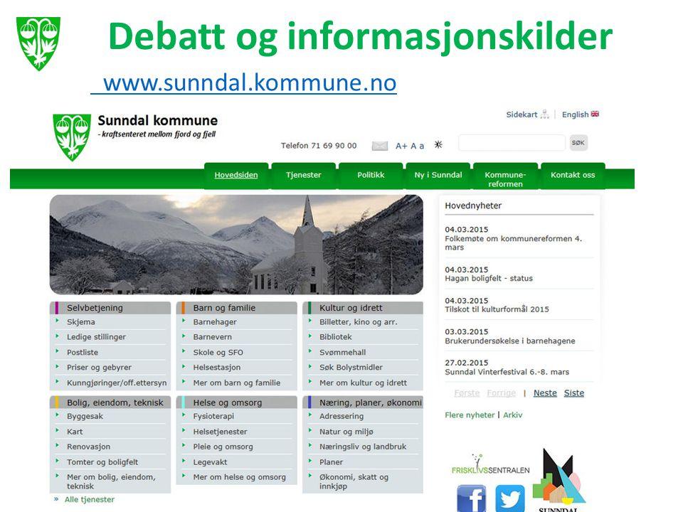 Debatt og informasjonskilder www.sunndal.kommune.no