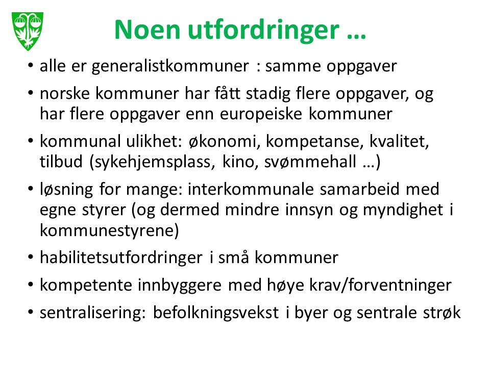 Noen utfordringer … alle er generalistkommuner : samme oppgaver norske kommuner har fått stadig flere oppgaver, og har flere oppgaver enn europeiske k