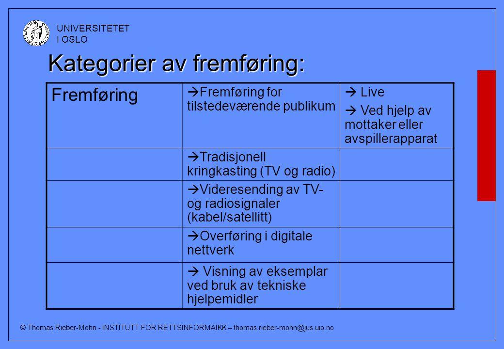 © Thomas Rieber-Mohn - INSTITUTT FOR RETTSINFORMAIKK – thomas.rieber-mohn@jus.uio.no UNIVERSITETET I OSLO Kategorier av fremføring: Fremføring  Fremf