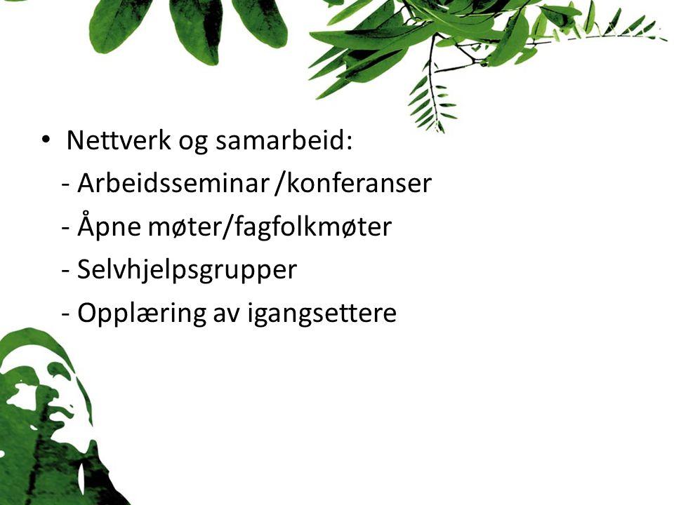 Nettverk og samarbeid: - Arbeidsseminar /konferanser - Åpne møter/fagfolkmøter - Selvhjelpsgrupper - Opplæring av igangsettere