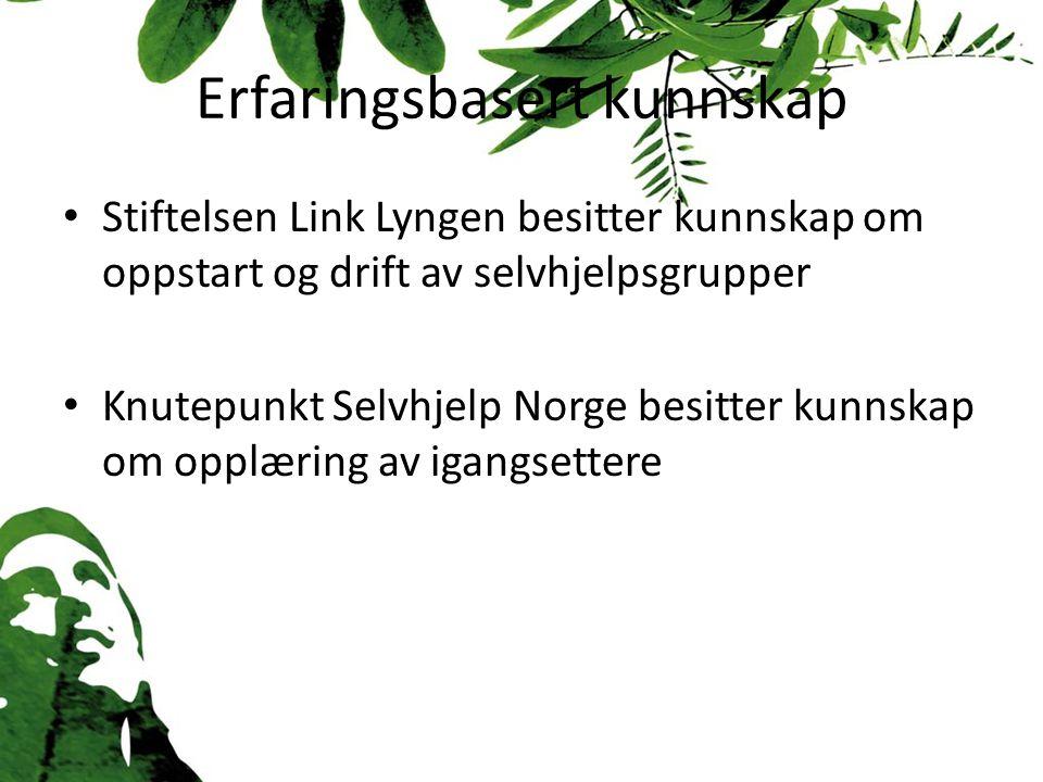 Erfaringsbasert kunnskap Stiftelsen Link Lyngen besitter kunnskap om oppstart og drift av selvhjelpsgrupper Knutepunkt Selvhjelp Norge besitter kunnskap om opplæring av igangsettere