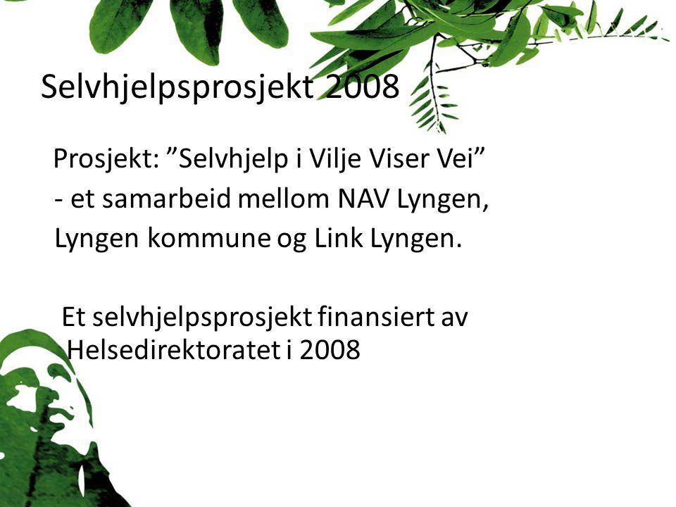 Selvhjelpsprosjekt 2008 Prosjekt: Selvhjelp i Vilje Viser Vei - et samarbeid mellom NAV Lyngen, Lyngen kommune og Link Lyngen.