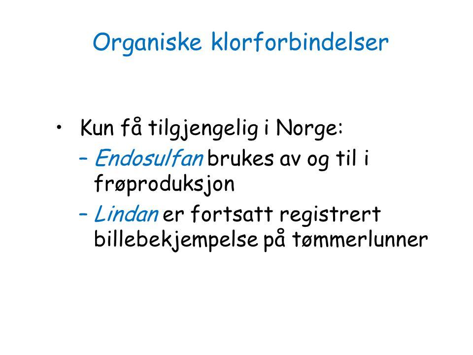 Kun få tilgjengelig i Norge: –Endosulfan brukes av og til i frøproduksjon –Lindan er fortsatt registrert billebekjempelse på tømmerlunner Organiske kl