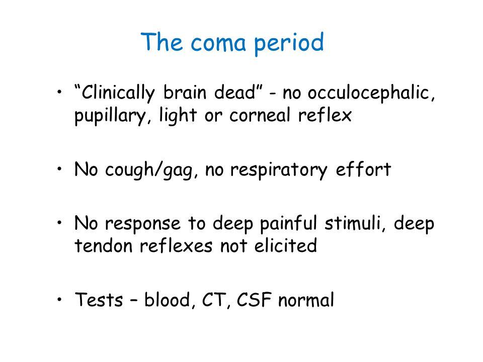 "The coma period ""Clinically brain dead"" - no occulocephalic, pupillary, light or corneal reflex No cough/gag, no respiratory effort No response to dee"