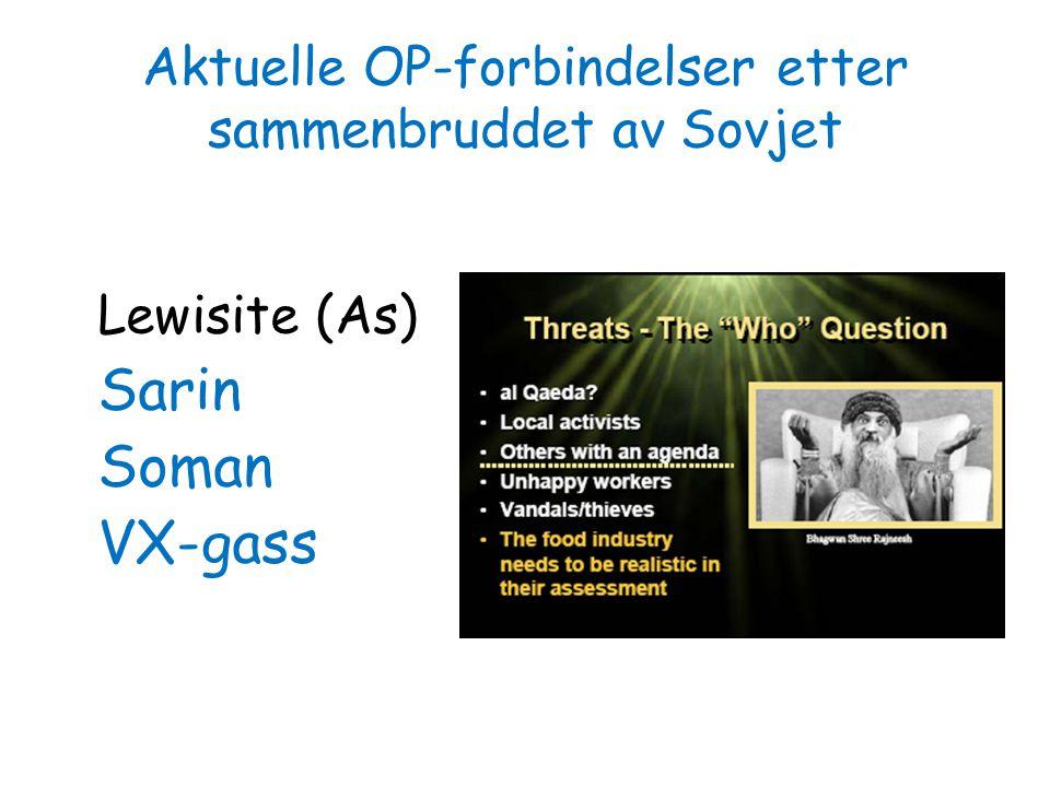 Aktuelle OP-forbindelser etter sammenbruddet av Sovjet Lewisite (As) Sarin Soman VX-gass