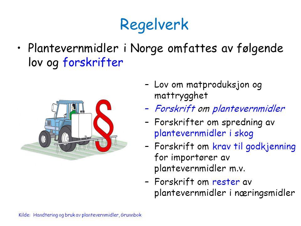 Regelverk Plantevernmidler i Norge omfattes av følgende lov og forskrifter –Lov om matproduksjon og mattrygghet –Forskrift om plantevernmidler –Forskr