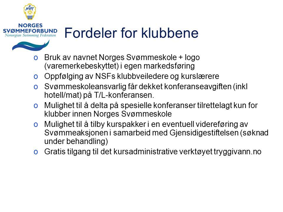 Fordeler for klubbene oBruk av navnet Norges Svømmeskole + logo (varemerkebeskyttet) i egen markedsføring oOppfølging av NSFs klubbveiledere og kurslæ