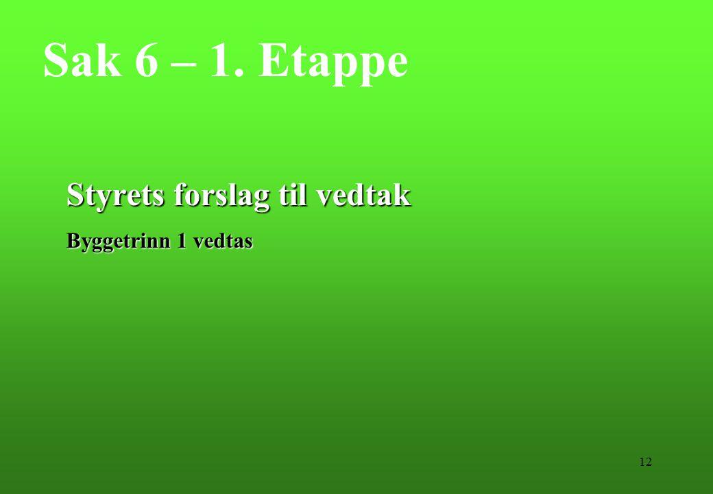 12 Sak 6 – 1. Etappe Styrets forslag til vedtak Byggetrinn 1 vedtas