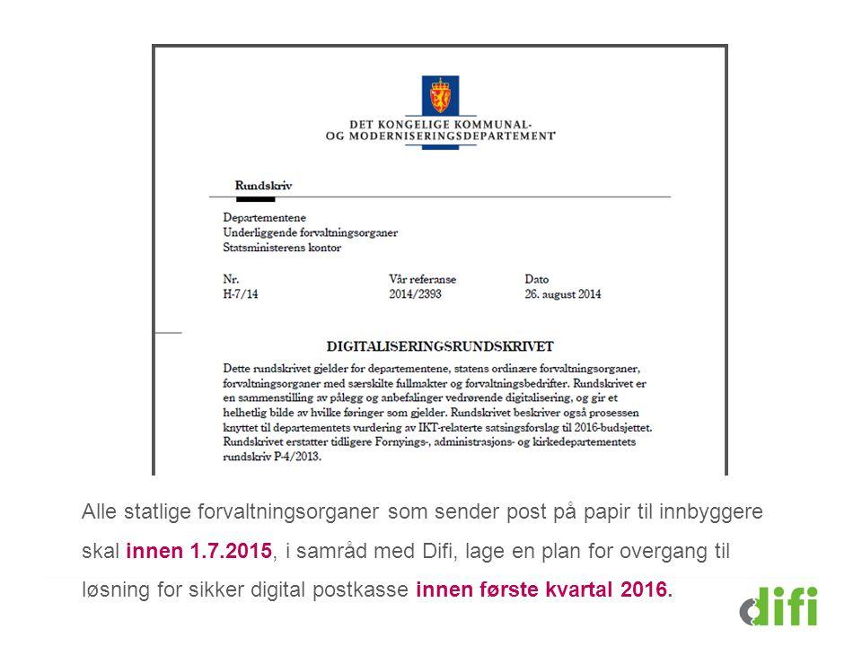Alle statlige forvaltningsorganer som sender post på papir til innbyggere skal innen 1.7.2015, i samråd med Difi, lage en plan for overgang til løsnin
