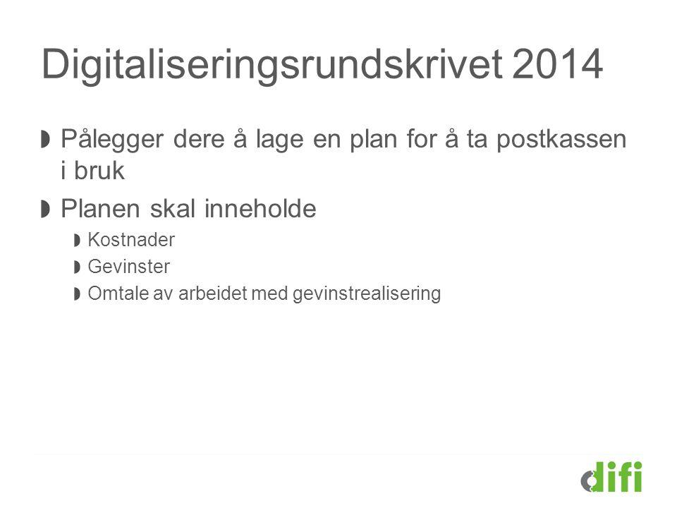 Digitaliseringsrundskrivet 2014 Pålegger dere å lage en plan for å ta postkassen i bruk Planen skal inneholde Kostnader Gevinster Omtale av arbeidet m