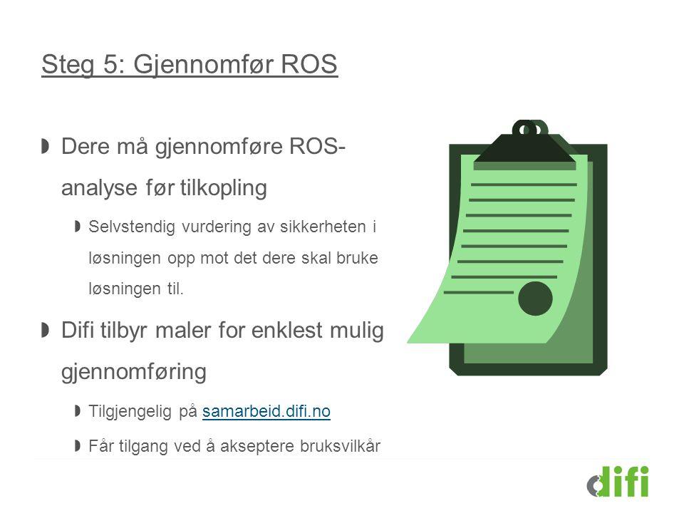 Steg 5: Gjennomfør ROS Dere må gjennomføre ROS- analyse før tilkopling Selvstendig vurdering av sikkerheten i løsningen opp mot det dere skal bruke lø