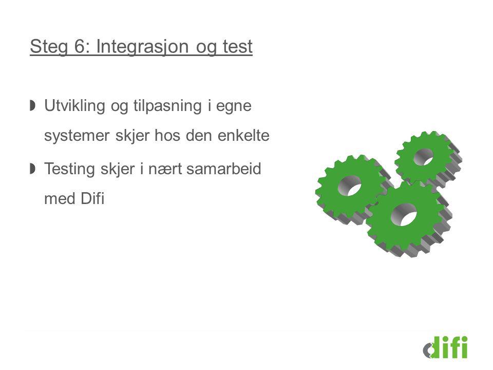 Steg 6: Integrasjon og test Utvikling og tilpasning i egne systemer skjer hos den enkelte Testing skjer i nært samarbeid med Difi
