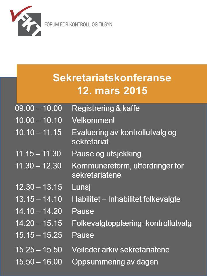 09.00 – 10.00Registrering & kaffe 10.00 – 10.10Velkommen! 10.10 – 11.15Evaluering av kontrollutvalg og sekretariat. 11.15 – 11.30Pause og utsjekking 1