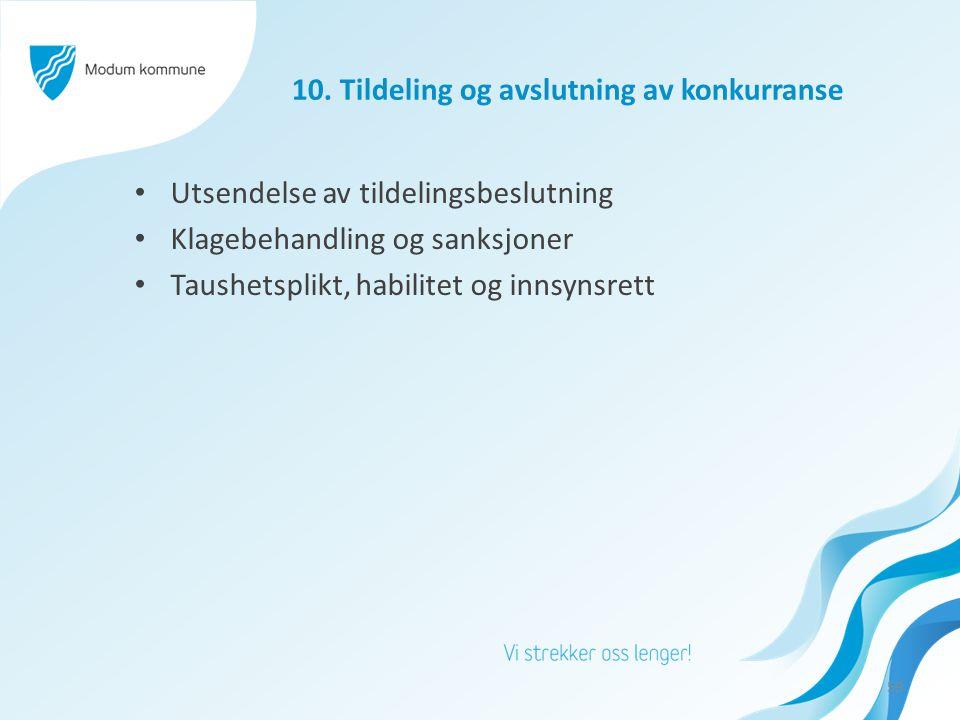 10. Tildeling og avslutning av konkurranse Utsendelse av tildelingsbeslutning Klagebehandling og sanksjoner Taushetsplikt, habilitet og innsynsrett 59