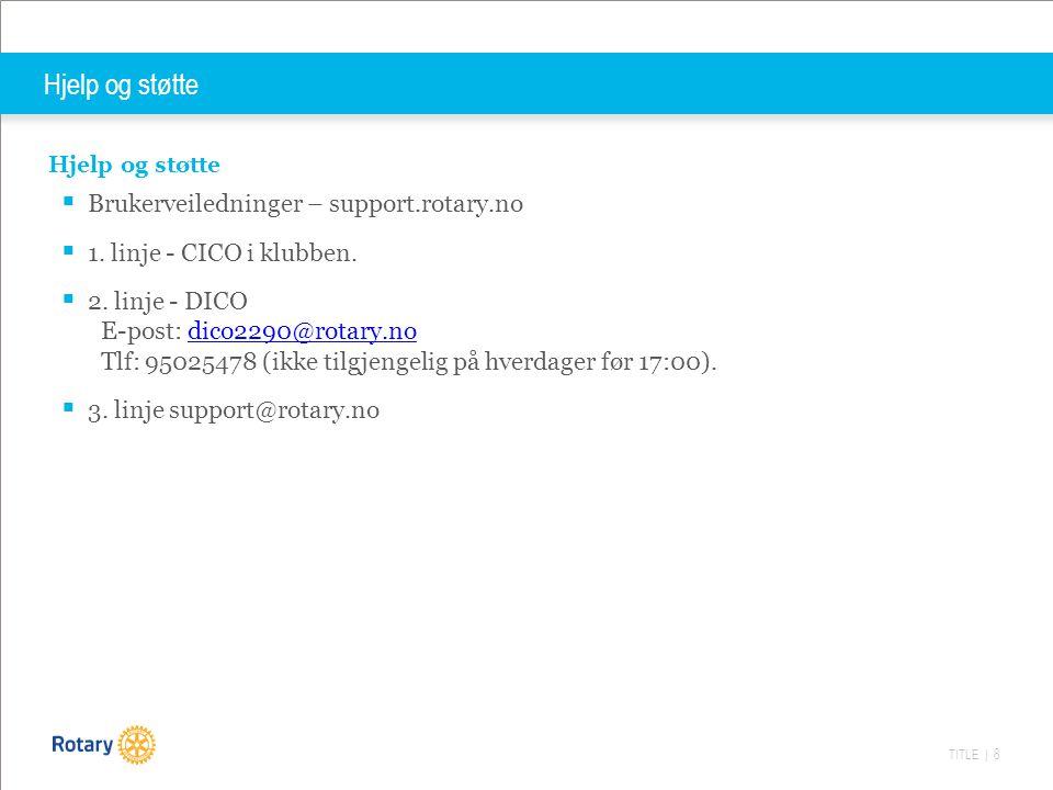 TITLE | 8 Hjelp og støtte  Brukerveiledninger – support.rotary.no  1.
