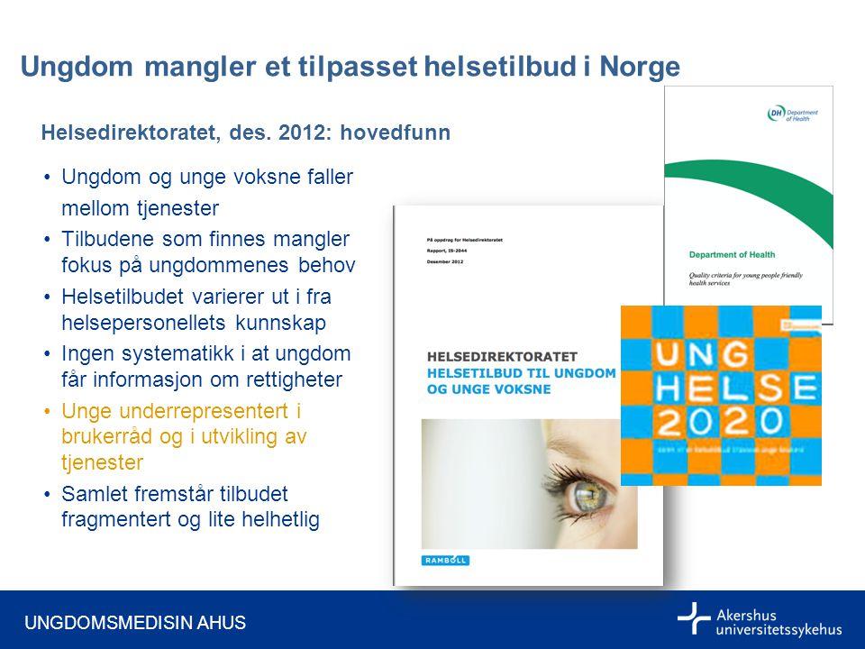 UNGDOMSMEDISIN AHUS Ungdom mangler et tilpasset helsetilbud i Norge Helsedirektoratet, des.