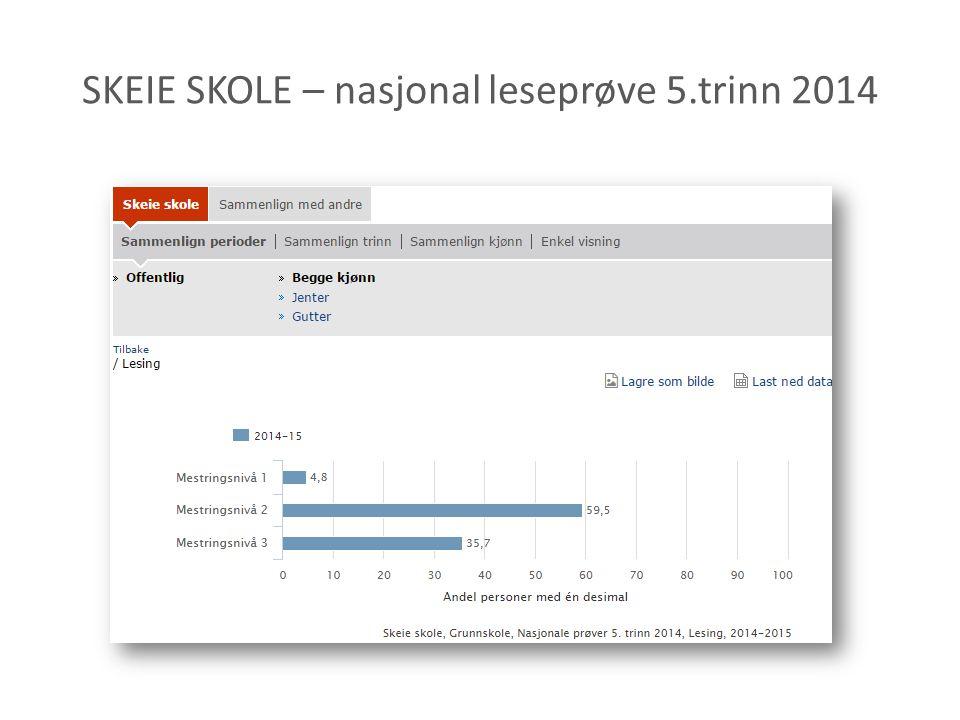 SKEIE SKOLE – nasjonal leseprøve 5.trinn 2014