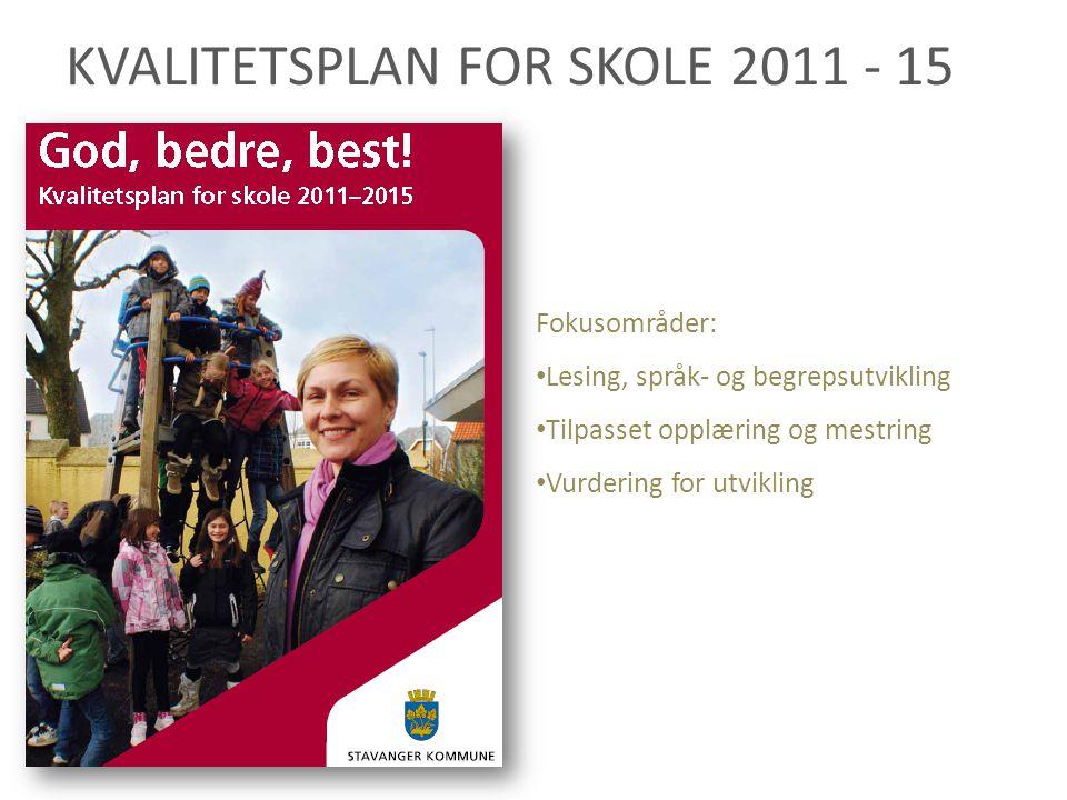 KVALITETSPLAN FOR SKOLE 2011 - 15 Fokusområder: Lesing, språk- og begrepsutvikling Tilpasset opplæring og mestring Vurdering for utvikling