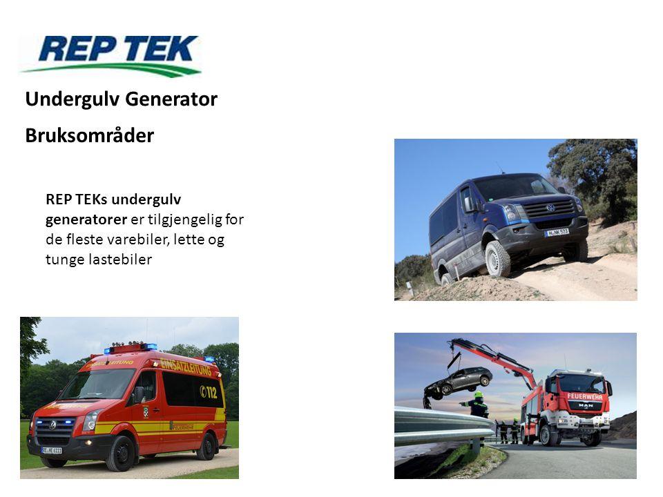REP TEKs undergulv generatorer er tilgjengelig for de fleste varebiler, lette og tunge lastebiler Undergulv Generator Bruksområder