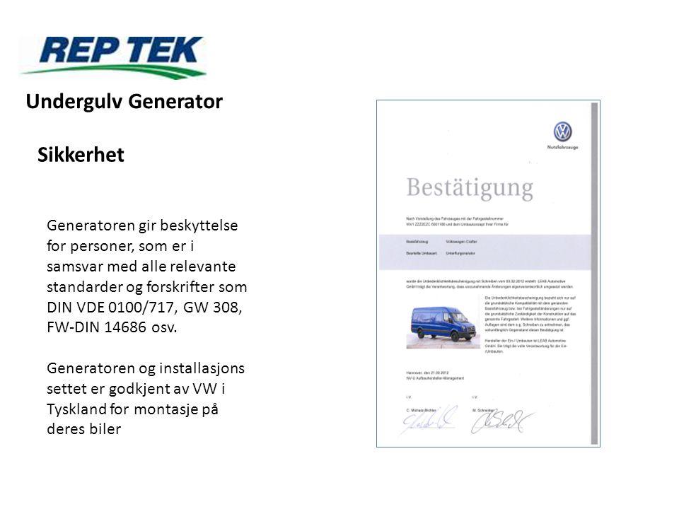 Undergulv Generator Sikkerhet Generatoren gir beskyttelse for personer, som er i samsvar med alle relevante standarder og forskrifter som DIN VDE 0100