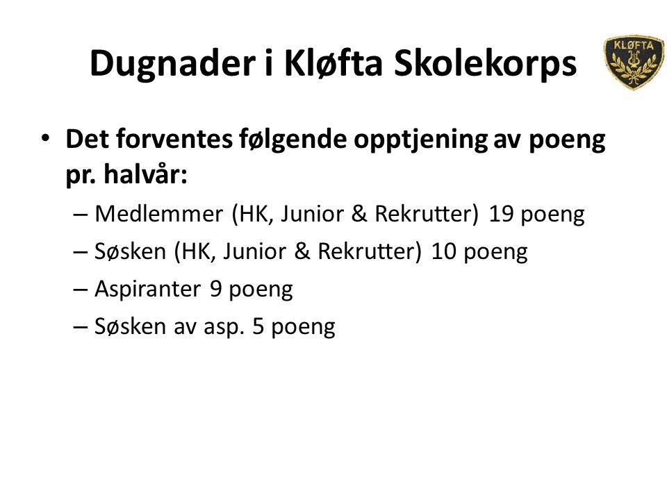 Dugnader i Kløfta Skolekorps Det forventes følgende opptjening av poeng pr. halvår: – Medlemmer (HK, Junior & Rekrutter) 19 poeng – Søsken (HK, Junior