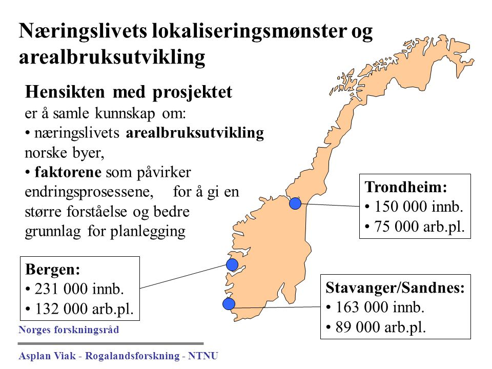 Næringslivets lokaliseringsmønster og arealbruksutvikling Trondheim: 150 000 innb. 75 000 arb.pl. Bergen: 231 000 innb. 132 000 arb.pl. Stavanger/Sand