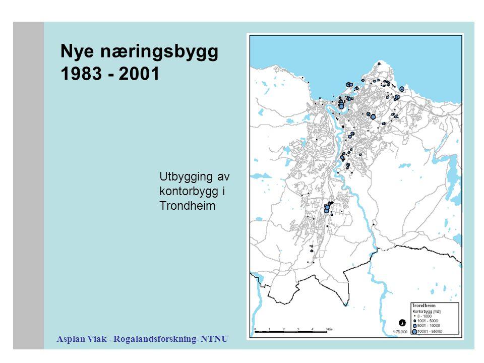 Asplan Viak - Rogalandsforskning- NTNU Nye næringsbygg 1983 - 2001 Utbygging av kontorbygg i Trondheim
