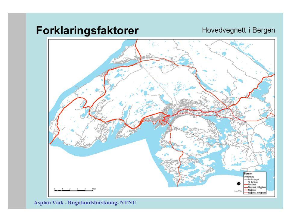 Asplan Viak - Rogalandsforskning- NTNU Forklaringsfaktorer Hovedvegnett i Bergen