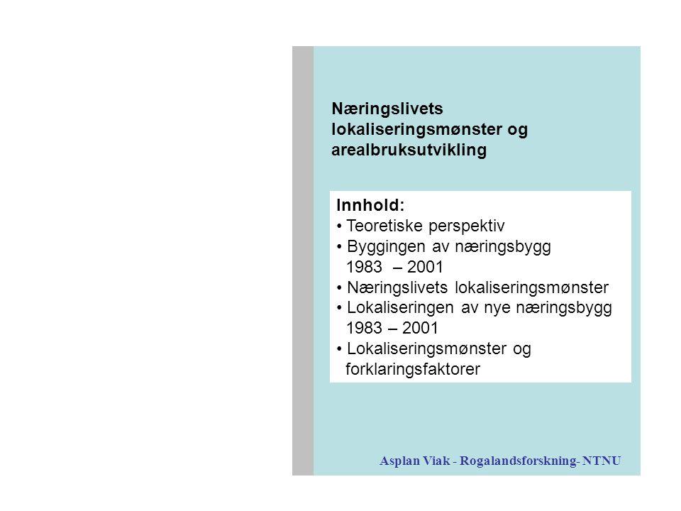 Stavanger/Sandnes Trondheim Bergen Gjennomsnittlige reisetid til alle innbyggerne i kommunen(e) Nybygd næringsareal 1983 - 2001 Asplan Viak - Rogalandsforskning- NTNU